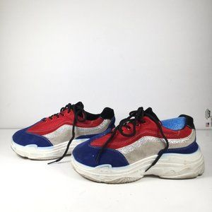 Forever Chunky Fashion Sneakers Blue/Red Size 7